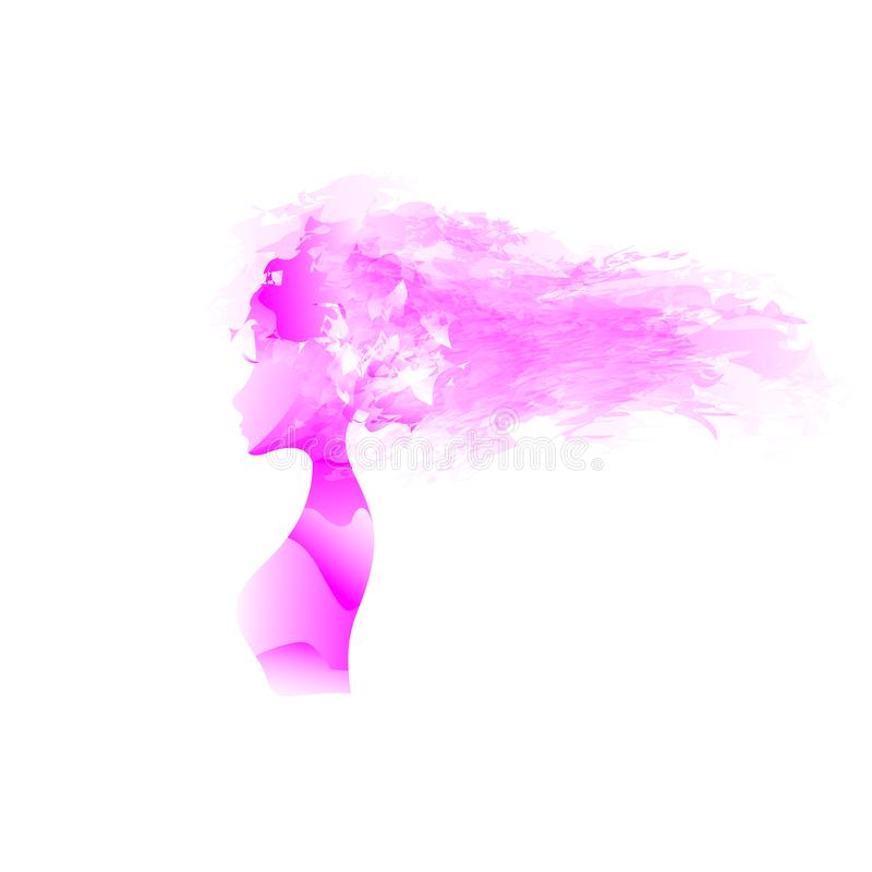 Beautiful young girl. Picture in profile. Curly hair. long eyelashes. Very beautiful young girl. Picture in profile. Curly hair. long eyelashes royalty free illustration