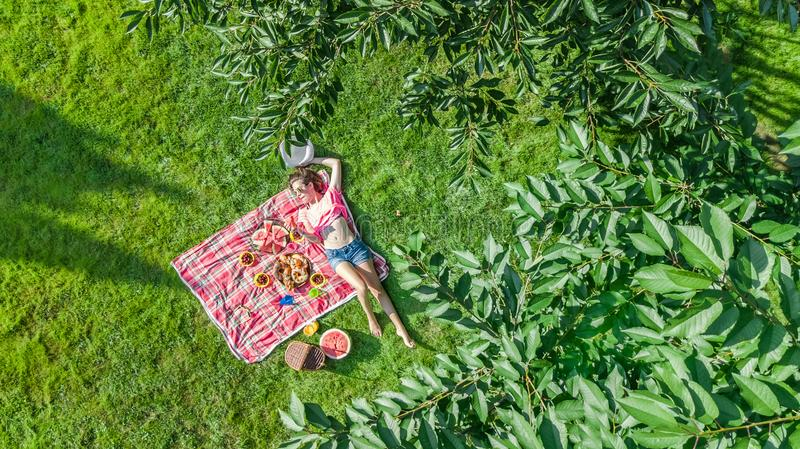 Beautiful young girl relaxing on grass, having summer picnic in park outdoors, aerial view from above. Beautiful young girl relaxing on grass, having summer stock photo