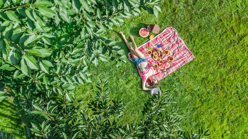 Beautiful young girl relaxing on grass, having summer picnic in park outdoors, aerial view from above. Beautiful young girl relaxing on grass, having summer stock image