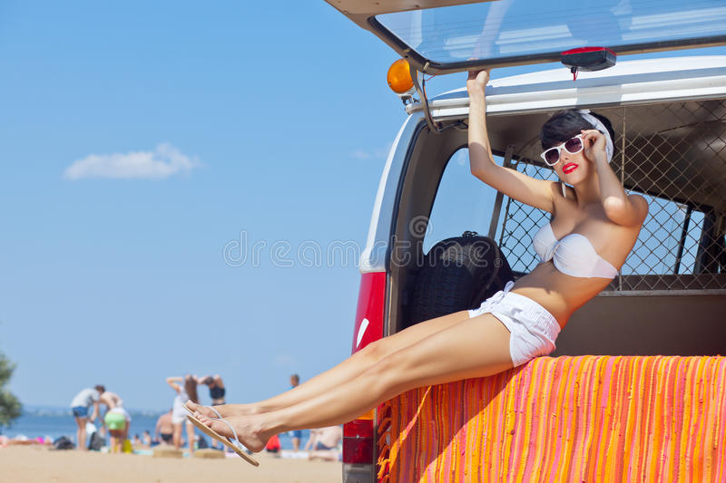A Beautiful Young Girl In Retro Look With A White Swimsuit Stock Images