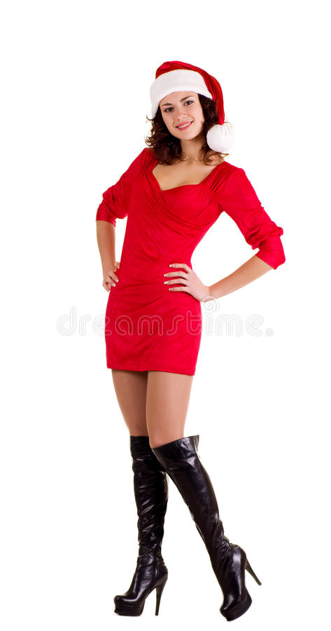 Beautiful young girl in Santa Claus clothes royalty free stock photos