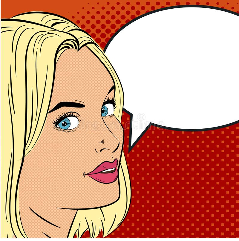 A beautiful young girl says something. Woman in the pop art comics style. vector illustration