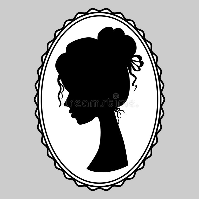 Beautiful young girl side view. stock illustration