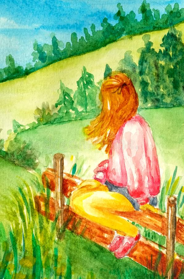 Beautiful young girl sits on the fence and looks at the rural landscape and mountains, fields, forests. vector illustration