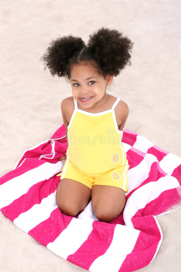 Download Beautiful Young Girl Sitting On Beach Towel In The Sand Stock Image - Image of sand, over: 160529