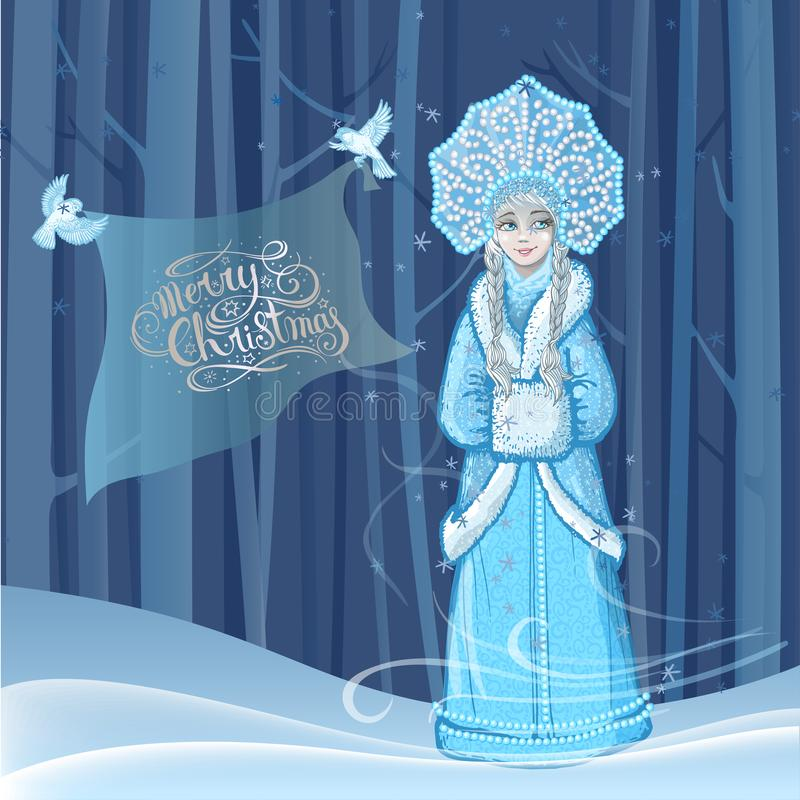 Beautiful young girl snow maiden with two snow birds flying around in the winter forest and lettering Merry Christmas stock illustration
