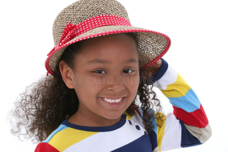 Beautiful Young Girl In Summer Hat Royalty Free Stock Photo