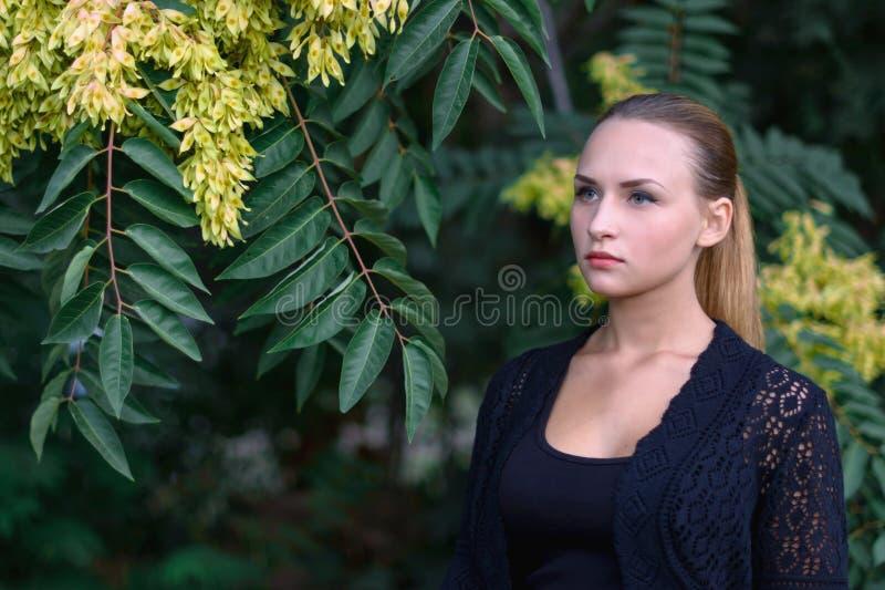 Beautiful girl in the Park stock photos