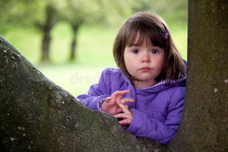 Beautiful Young Girl With Surprised Look Enjoying Nature. Happy young girl looks surprised as she plays hide and seek behind a tree royalty free stock image