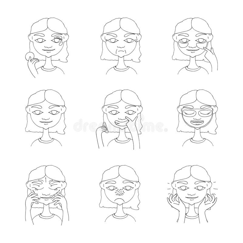 Beautiful young girl taking care of her skin and face. Hand drawn lovely woman with smile on face, wrinkles, black dots. Cosmetolo royalty free illustration