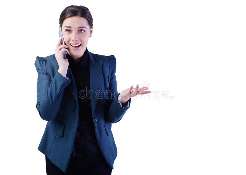 Beautiful young girl talking on the mobile phone in the office. royalty free stock photos