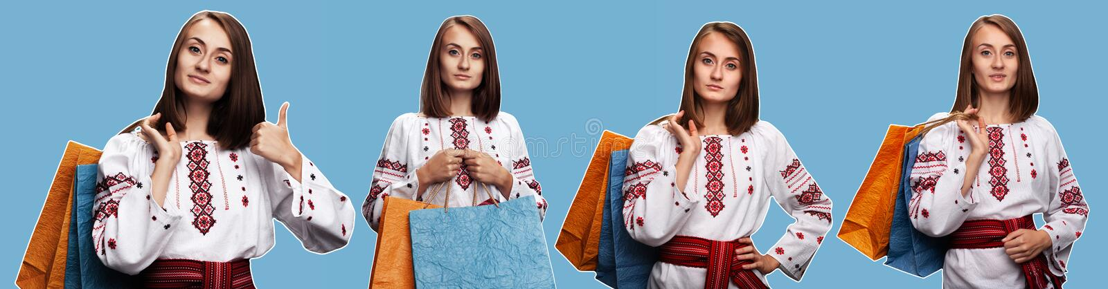 Young girl in the Ukrainian national suit royalty free stock images