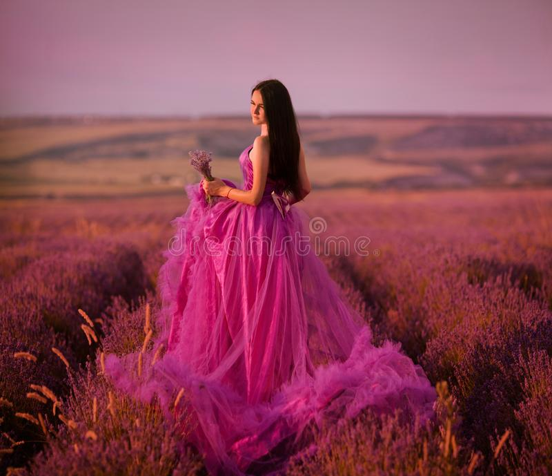 Beautiful young girl walks in a field of lavender stock photos