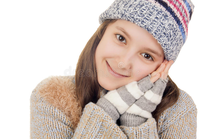 Download Beautiful Young Girl In Warm Winter Clothes Smiles Stock Image - Image: 28815959