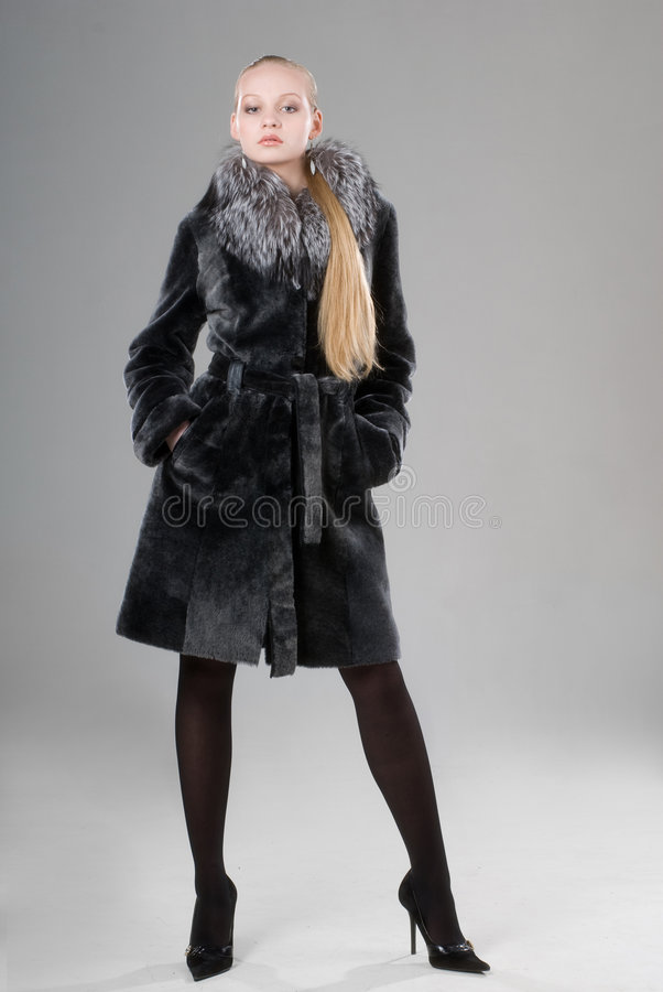 Beautiful young girl: winter fashion stock image