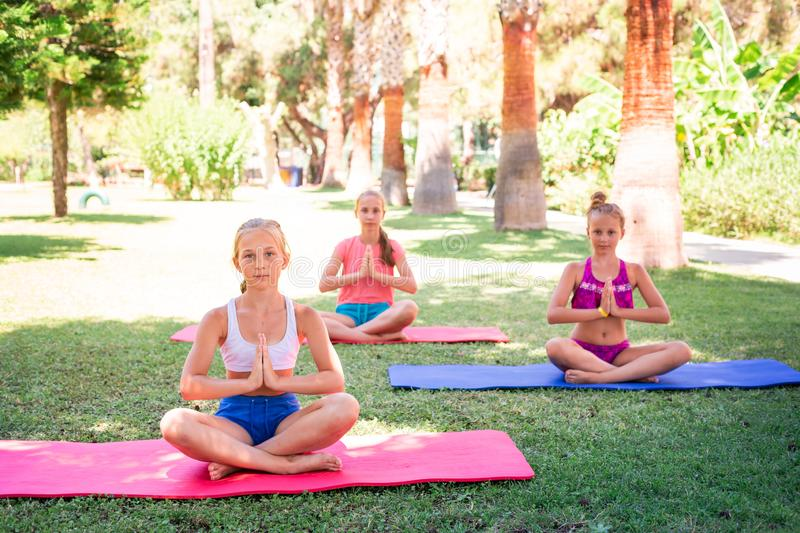 Beautiful young girls working out, exercising outdoor. Beautiful young girls working out, exercising, practicing yoga outdoor at the resort. Healthy lifestyle royalty free stock photo