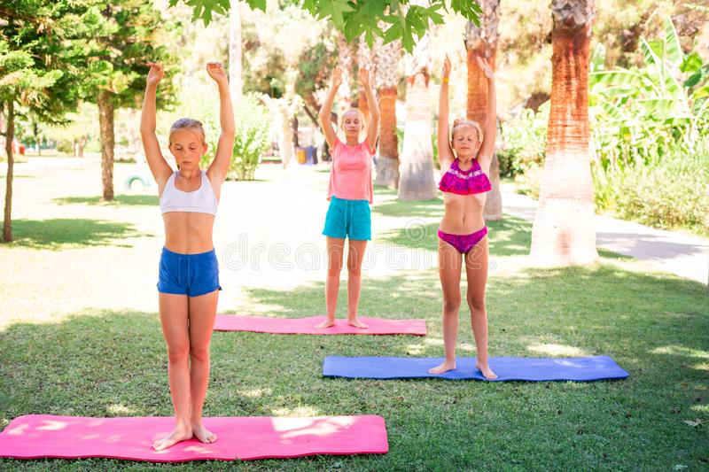Beautiful young girls working out, exercising outdoor. Beautiful young girls working out, exercising, practicing yoga outdoor at the resort. Healthy lifestyle royalty free stock image