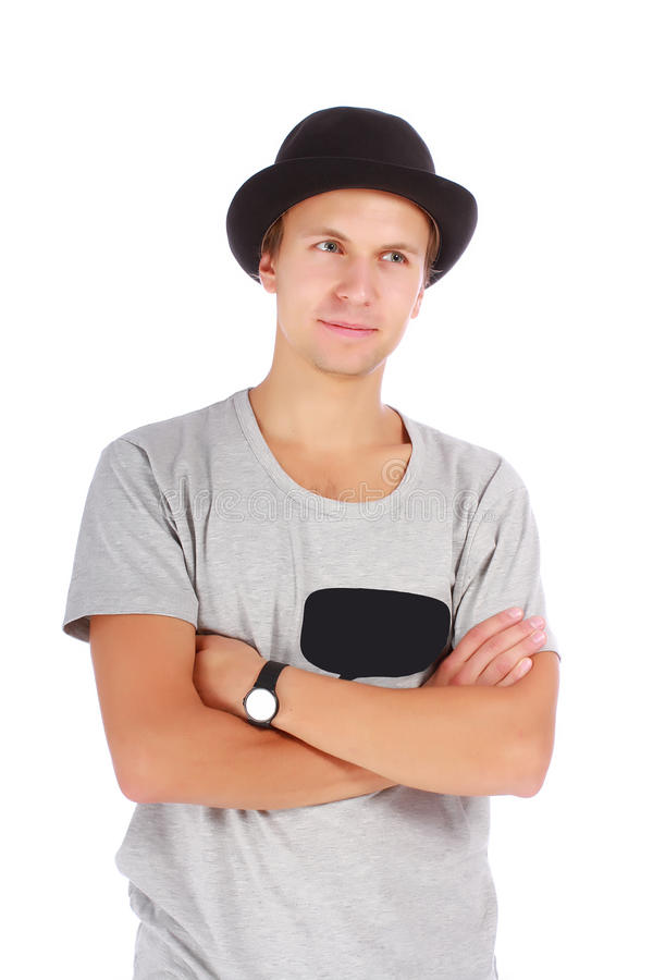 Beautiful young guy in a hat and t-shirt. Young guy in a hat and casual t-shirt half length portrait on white background stock photos