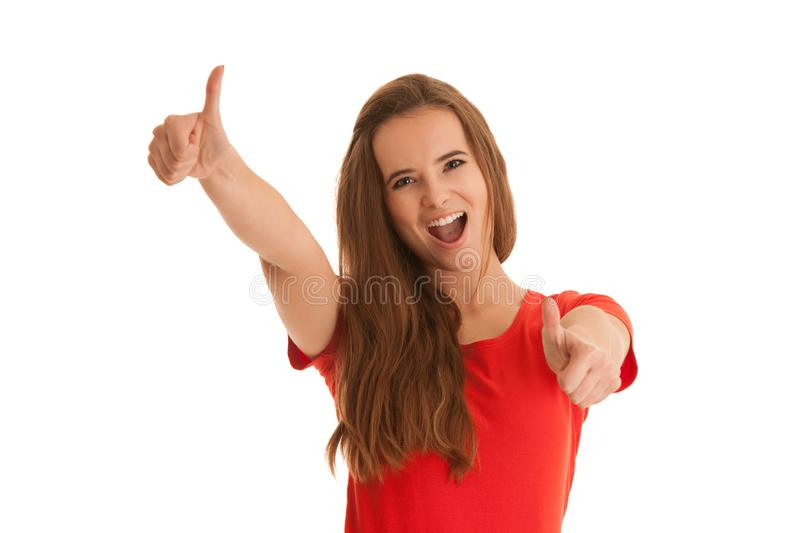Beautiful young happy caucasian woman gesture succes with showing thumbs up islated over white background stock photography
