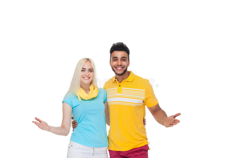 Beautiful Young Happy Couple Love Smiling Embracing, Hispanic Man Woman Hold Palm Arm Hand Gesture stock photo