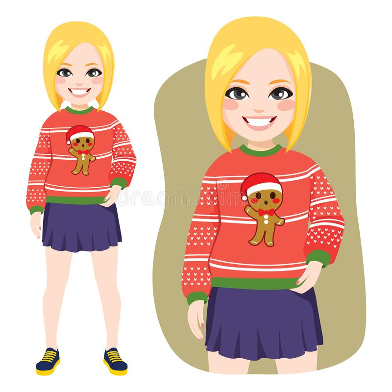 Ugly Christmas Sweater Blonde Woman vector illustration