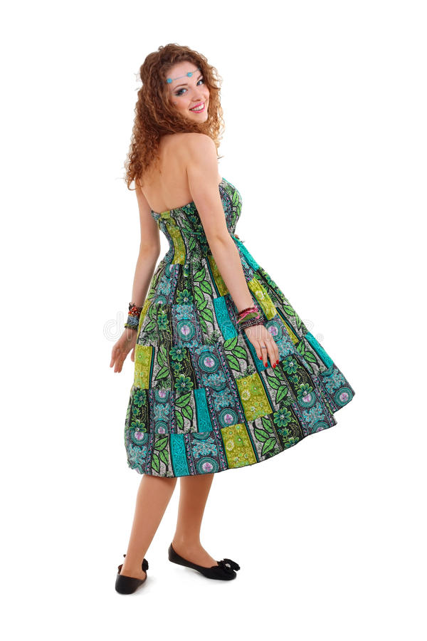 Download Beautiful Young Hippie Woman In Green Dress Stock Image - Image: 24405309