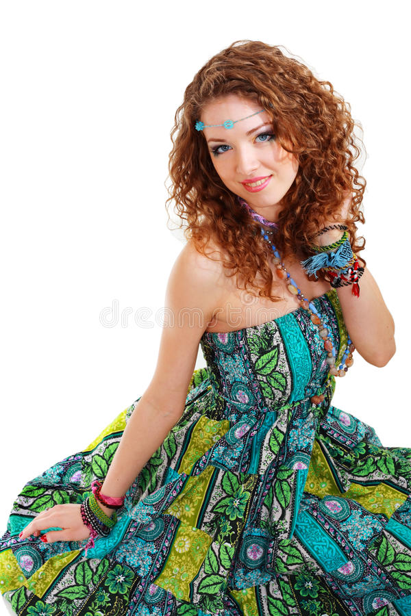 Beautiful Young Hippie Woman In Green Dress Stock Photo