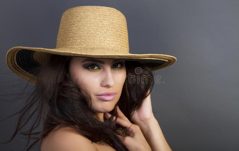 Download Beautiful Young Hispanic Woman Wearing Straw Hat Stock Image - Image: 20600157