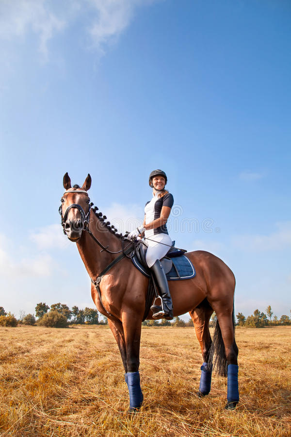 Beautiful young horsewoman sitting on a horse. Cheerful beautiful young girl jockey in uniform sitting on a horse against blue sky and yellow field,looking royalty free stock image