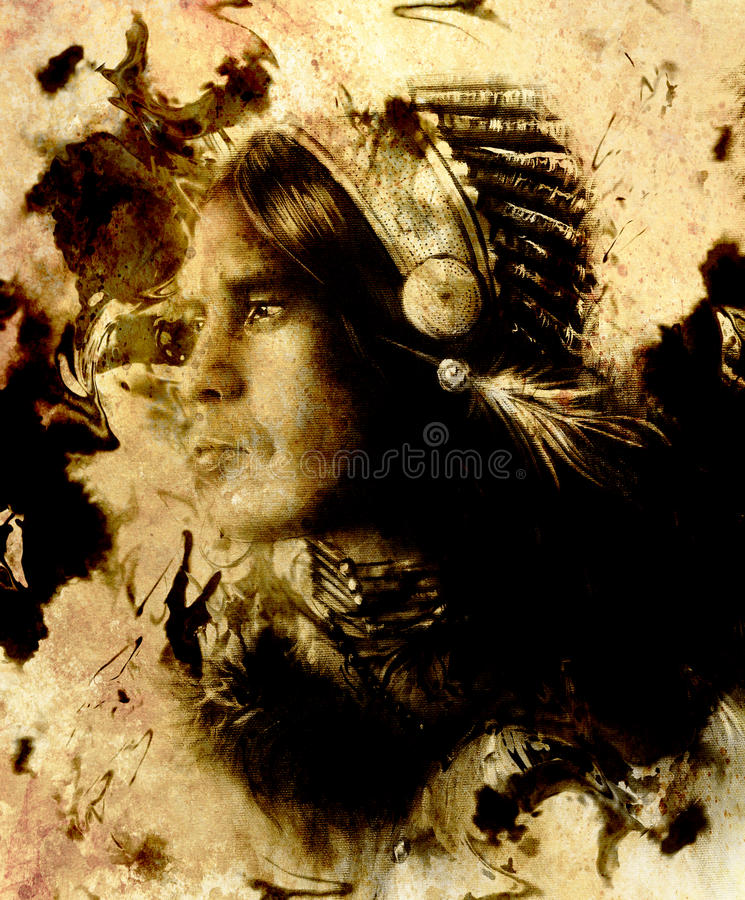 Beautiful young indian warrior. Sepia effect. Painting collage. stock illustration