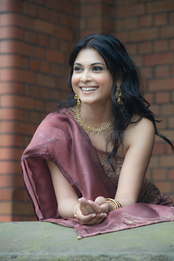 Beautiful young Indian woman wearing traditional dress stock image