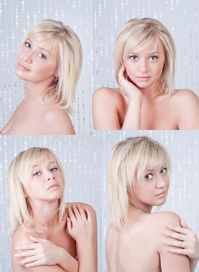 Beautiful young lady with blond hair and blue eyes royalty free stock images