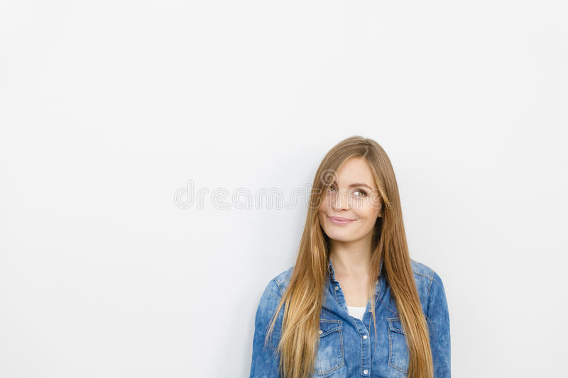 Download Beautiful Young Lady With Denim Jacket. Stock Photo - Image: 83710620