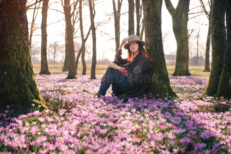 Spring.Crocuses.Forest.Fresh air. Inspiration. Female traveler. Beautiful young lady getting inspiration and new ideas from sitting next to the tree in the stock image