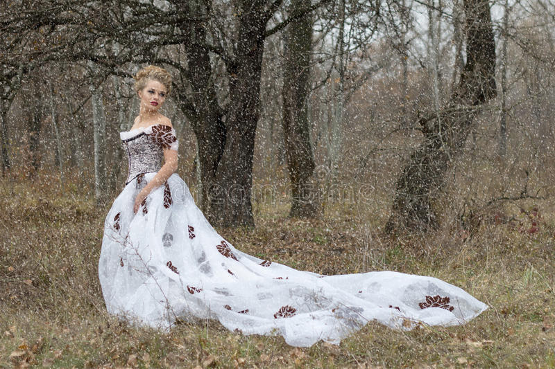 Beautiful young lady in gorgeous vintage white dress. Snow. stock photography