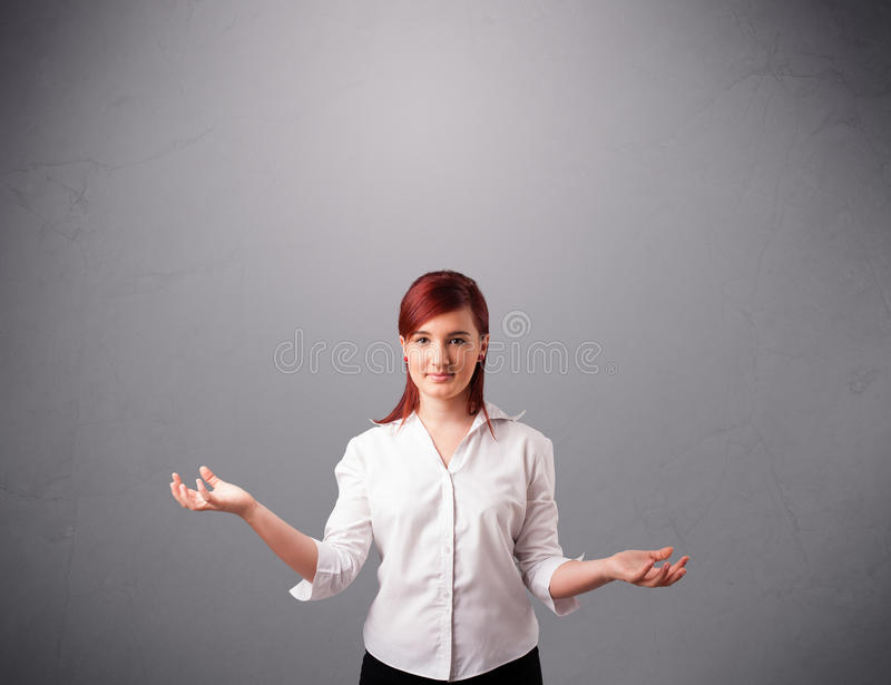 Beautiful young lady juggling with copy space royalty free stock images