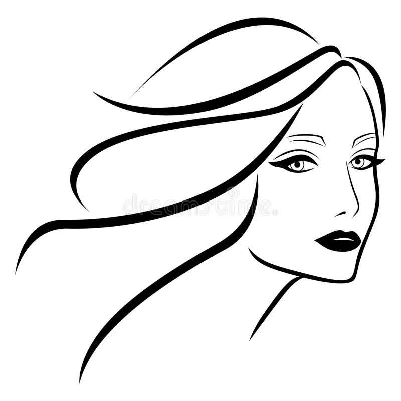 Beautiful young lady with wavy hair royalty free illustration