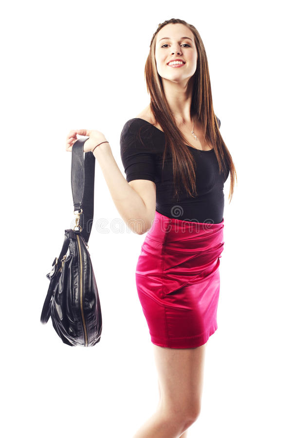 Beautiful young lady wearing fashionable clothing royalty free stock photography