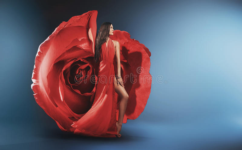Beautiful young lady wearing rose gown royalty free stock photos