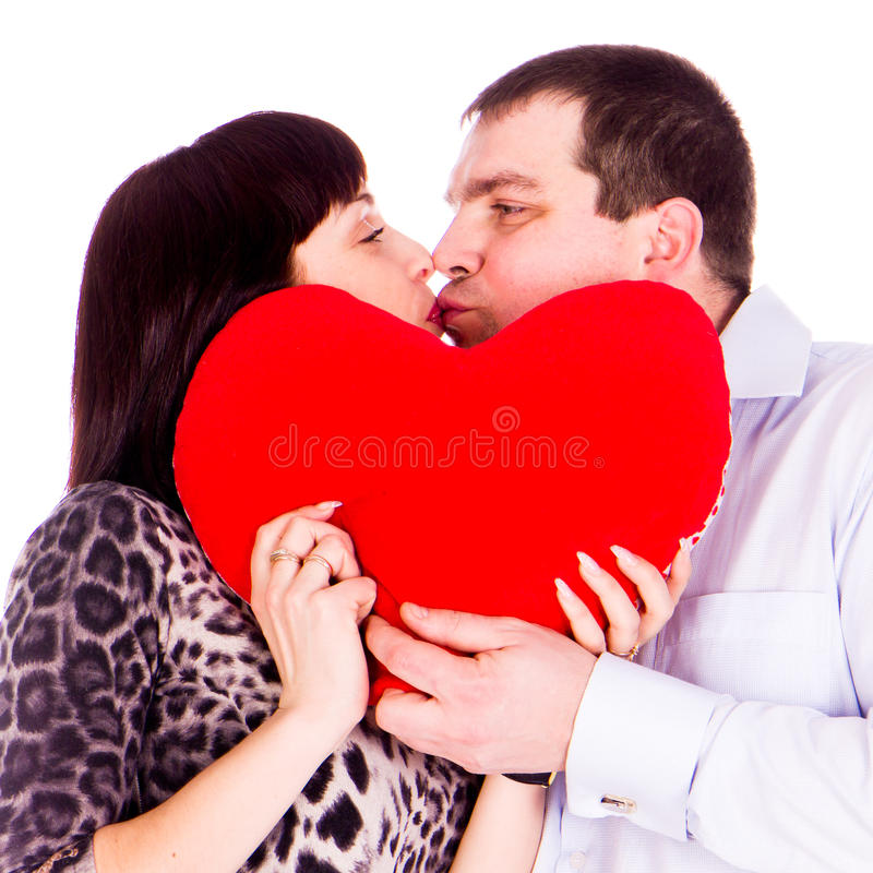 Beautiful Young Love Couple With Red Heart Stock Image