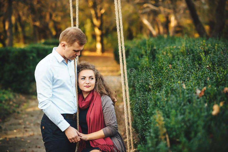 Download Beautiful Young Loving Couple Walking Outdoors At The Park. Stock Image - Image of forest, outdoor: 92047641