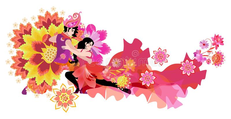 Beautiful young man in east costume and girl in red dress, decorated of flowers, dancing tango isolated on white background. International Dance Day. Wedding vector illustration
