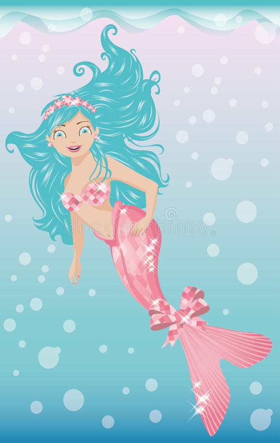 Beautiful young mermaid with diadem. Vector illustration royalty free illustration