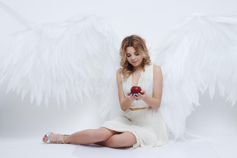 Beautiful young model with big angel wings sitting in the studio royalty free stock photography