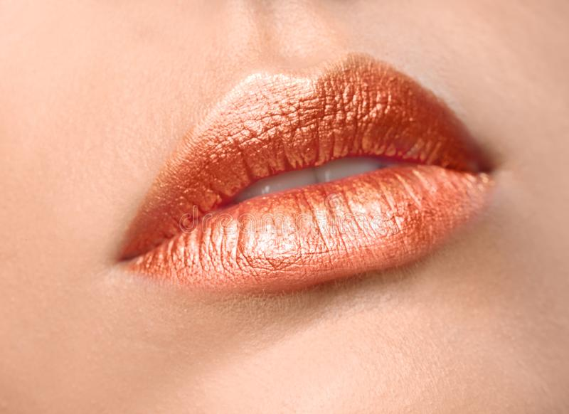 Beautiful young model with creative lips makeup royalty free stock images