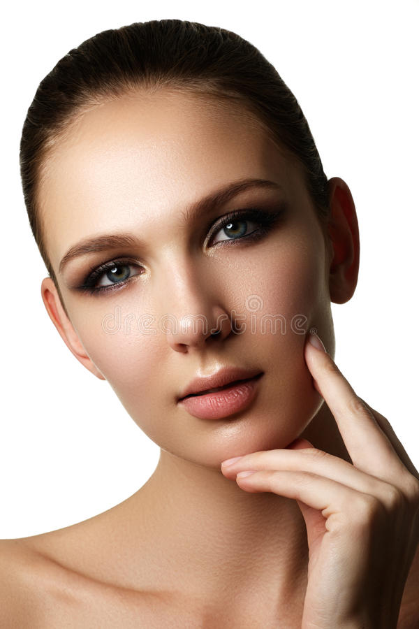 Beautiful young model with dark fashion make-up and french manic stock photo