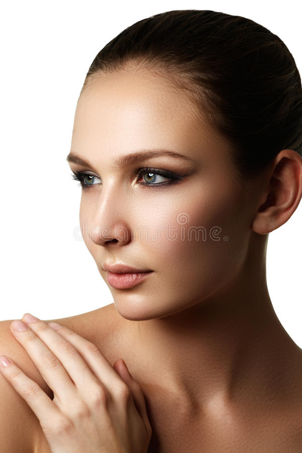 Beautiful young model with dark fashion make-up royalty free stock photo
