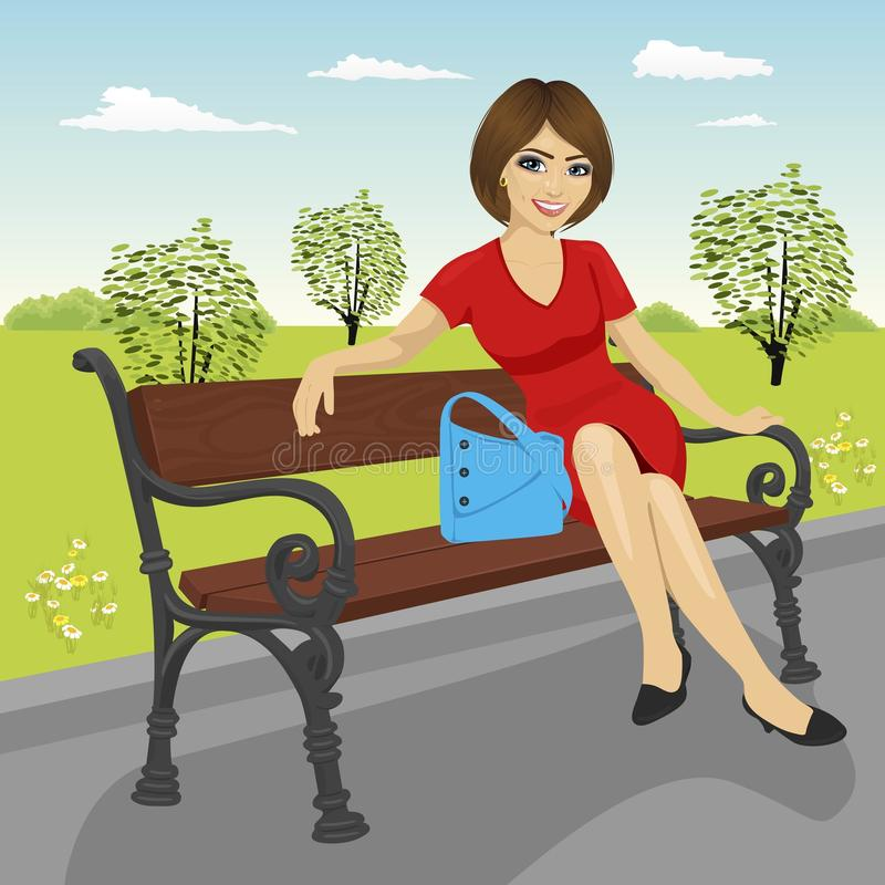 Beautiful young model sitting on a bench in city park in summer and posing stock illustration