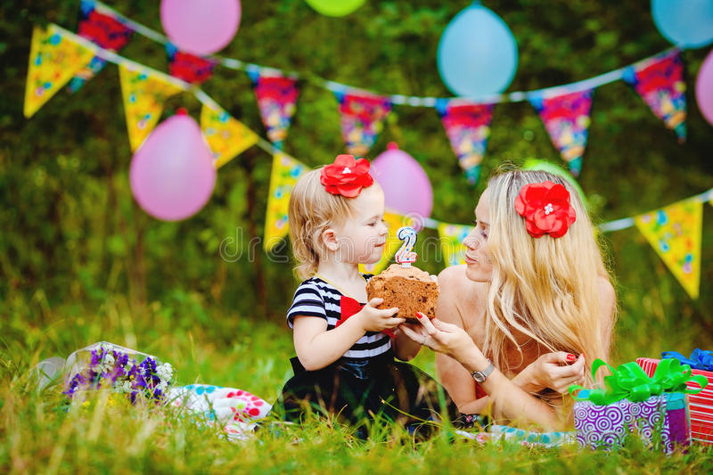 Download Beautiful Young Mother And Her Daughter In The Park Stock Image - Image of child, fall: 36255243