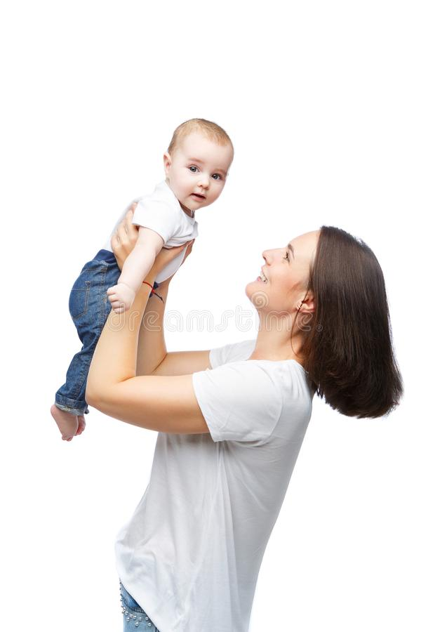 Beautiful young mother with toddler baby boy stock image